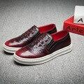 high quality men fashion office wedding dress crocodile pattern genuine leather shoes slip on oxfords shoe flat platform loafers