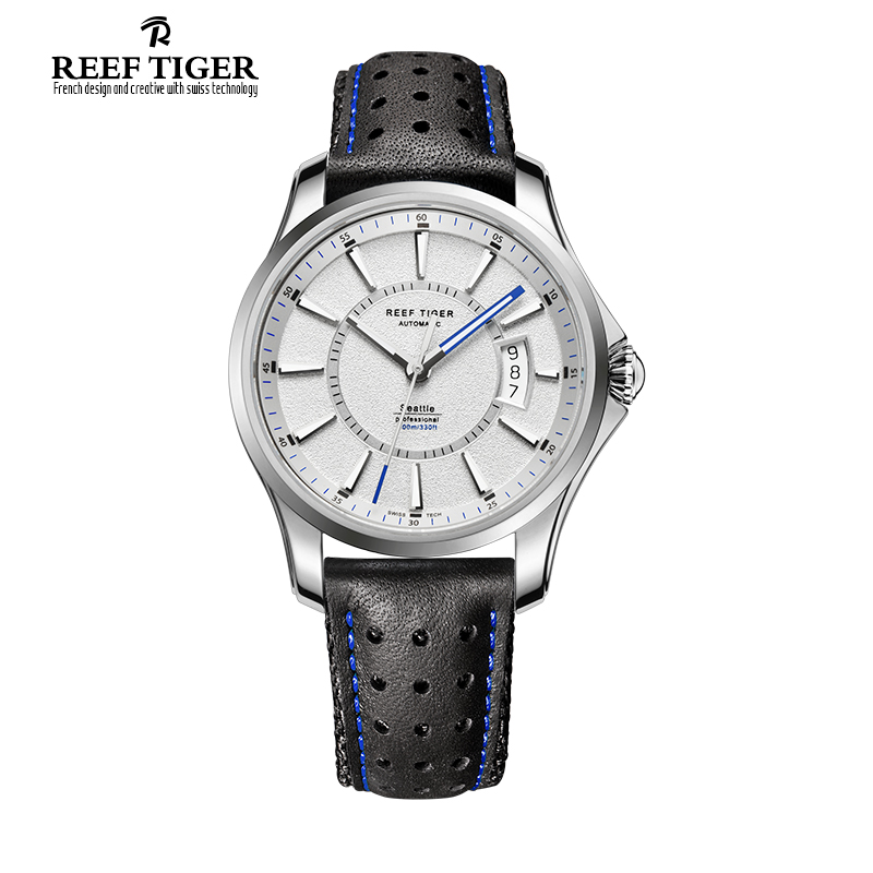 Reef Tiger/RT New Designer Sports Watches With Big Date And Super Luminous Mens Watch Steel Automatic Watch RGA166 reef tiger designer fashion diamonds automatic watch with white mop dial steel watches for women rga1550