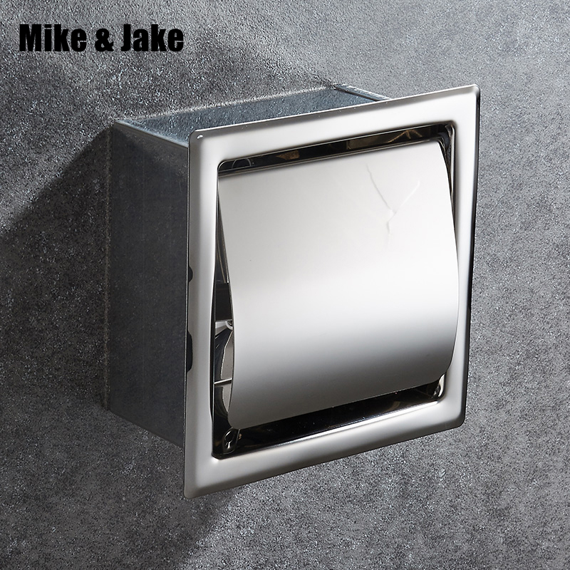 Recessed wall embedded stainless steel roll holder toilet paper holder tissue box tray paper towel holder ak15 copper open toilet paper tissue towel roll paper holder silver