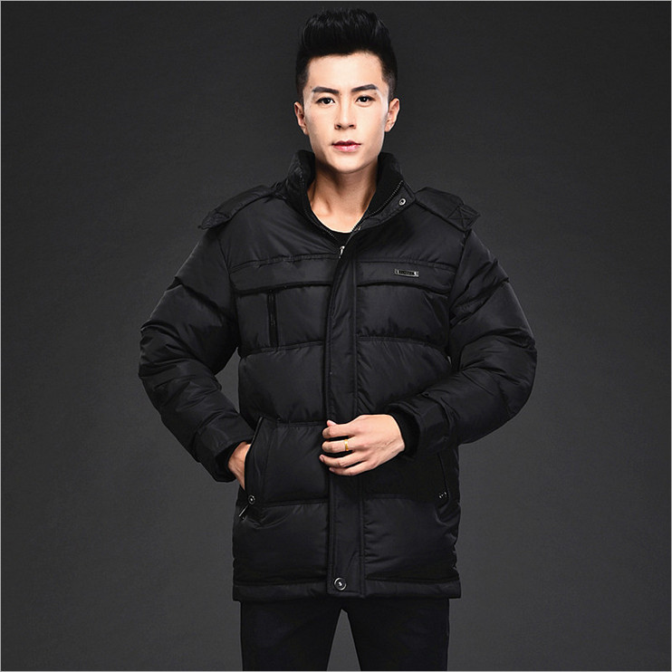 2016 middle-aged men padded winter thickening big yards long section hooded warm coat collar fashion solid 100% cotton