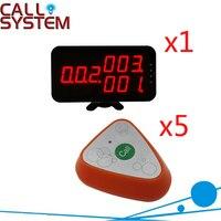 Garçom Chamando Sistema de 433 MHz sem fio Botão de Chamada 1-chave Com 3 grupos de Número de Exibição CE Passado (1 display + 5 botão de chamada)