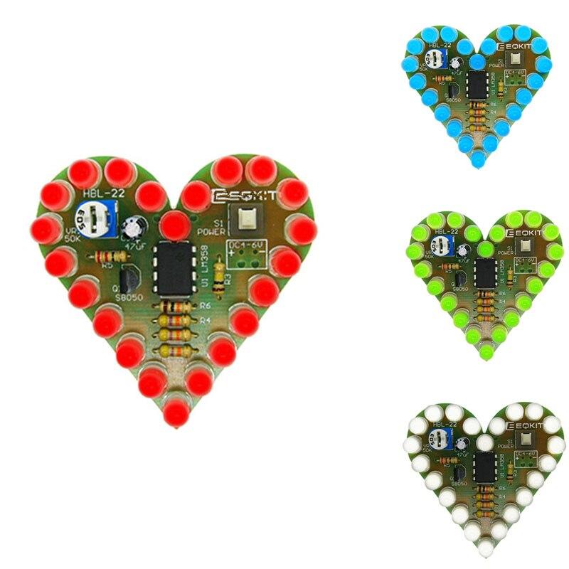 10pcs/lot DIY Heart Shape Breathing Lamp Heart LED DIY Kit DC4V-6V Electronic Kits Heart Shaped Lamp Suite Kit Electronique