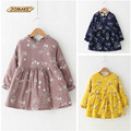 New Autumn And Winter Princess Girls Long Sleeve Thick Dress Floral Girls A-Line Dress Casual Children Clothing 3 Colors