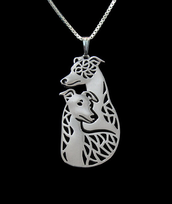 1PCS dropship new style Alloy Whippet couple dog necklace cartoon Greyhound dog jewelry for women Silver/gold two colors