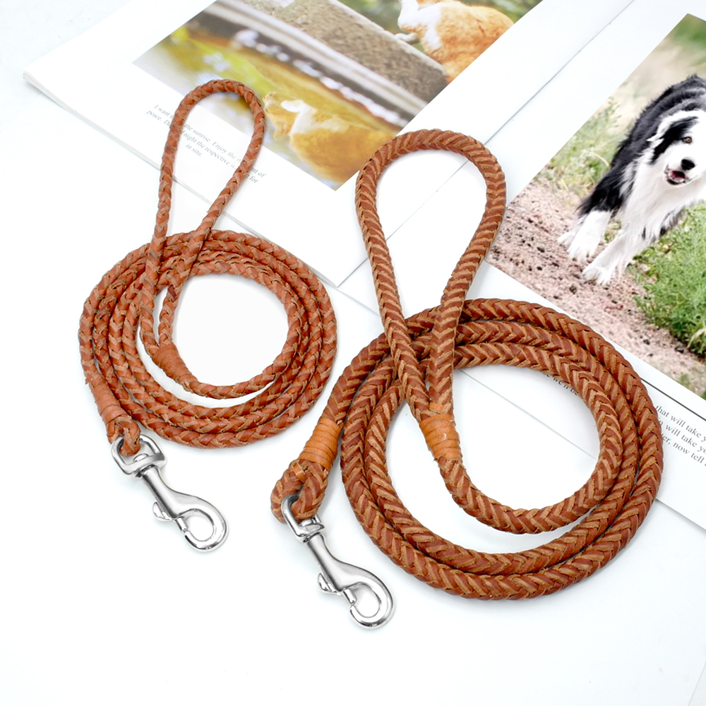 Rolled Leather Dog Leash For Small Medium Dogs Braided Leather Puppy Cat Pet Walking Leash Leads Brown Color 4ft Long