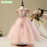 Luxury Ball Gown Princess Dresses Girls Wedding Pompon Girls Shoulderless Dresses Children S Piano Costume Flower