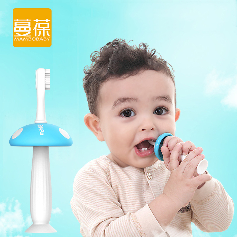 YENİ 2 baş göbələk silikon körpə dişli uşaqlar dişlərini fırçalayan uşaq diş fırçası uşaq uşaq diş fırçası yeni doğulmuş banan diş fırçaları