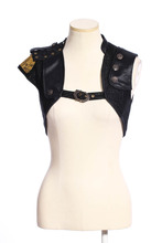 RQ Series Gothic Steampunk Short Vest For Female Cool Black Open Stitch Waistcoat Sleeveless Vest Coat