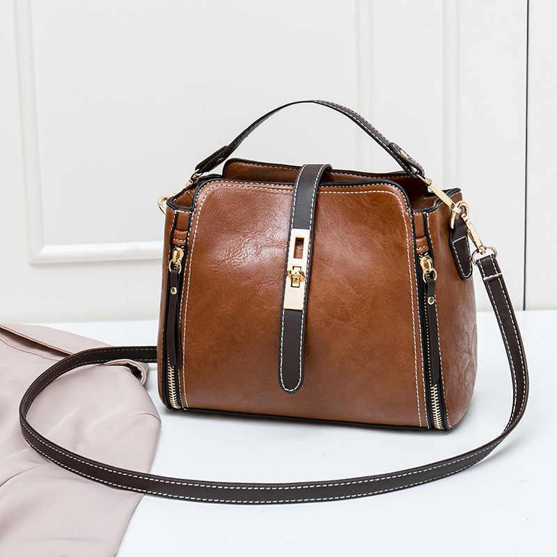 Frauen Eimer Tasche Öl Wachs Frauen Leder Handtaschen Big Tote Berühmte Marken Hohe Kapazität Weibliche Schulter Tasche Umhängetasche 2019 c810
