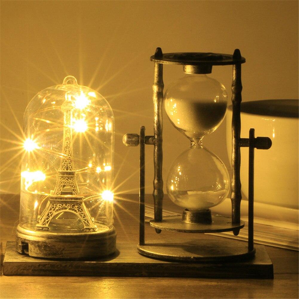 lámpara mesa Vintage LED de Torre arena Luz de Cristal IYgyvf6b7
