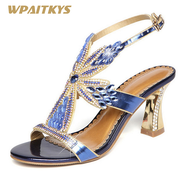8d603ef5f79 Elegant Purple Golden Blue Ladies Rhinestone High Heels Temperament High-End  Diamond Coarse High-