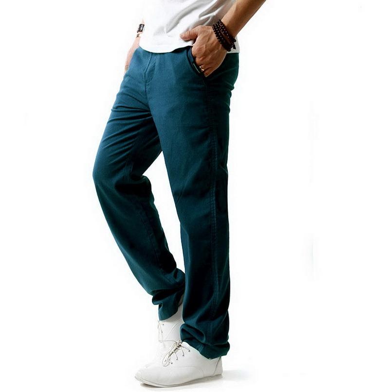 Pantalon pour hommes en lin et coton bleu canard, vue latérale