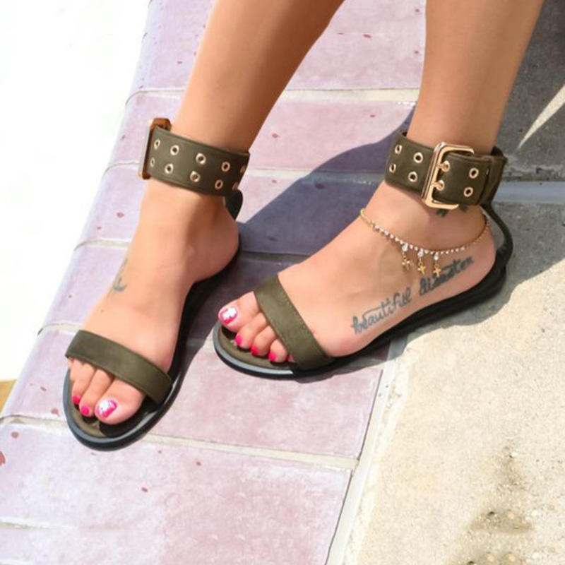 Women Flats Sandals Gladiator Summer Transparent Open Toe Jelly Shoes Ladies Vintage Roman Buckle Strap Beach Sandals Big Size in Women 39 s Sandals from Shoes