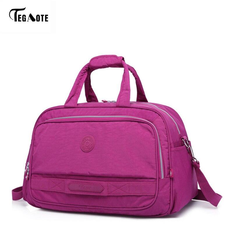 TEGAOTE Men s Travel Bag Fashion Nylon Solid Unisex Large Capacity Duffle Business Trip Big Luggage