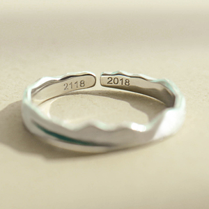 Image 4 - Thaya Time Travel Wave Blue Finger Ring Stackable S925 Sterling Silver Drawing Line Open Rings Women Jewelry Handmade Lover Gift