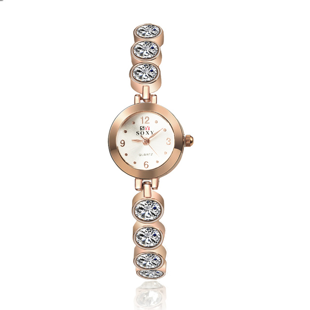 New Design SOXY Luxury Brand Dress Watches Women Crystal Bracelet Watch Quartz L