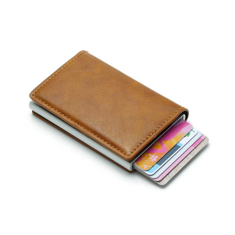 2019 New Men Vintage Credit Card Holder RFID Automatic Elastic Aluminum Pu Package Rifd Wallet
