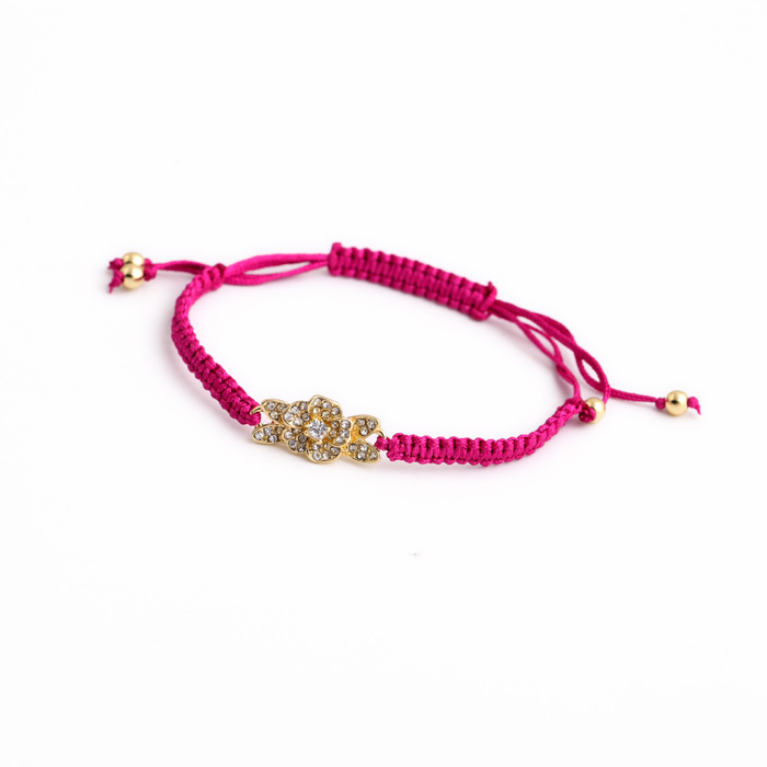 Ethnic Style Handmade Online Display Sporty Braided Chain Diamante Gold Color Flower Charm Bracelet
