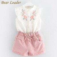 Bear Leader Girls Clothing Sets 2017 Brand Girls Clothes Petal Sleeve Floral Printing T Shirt Pink