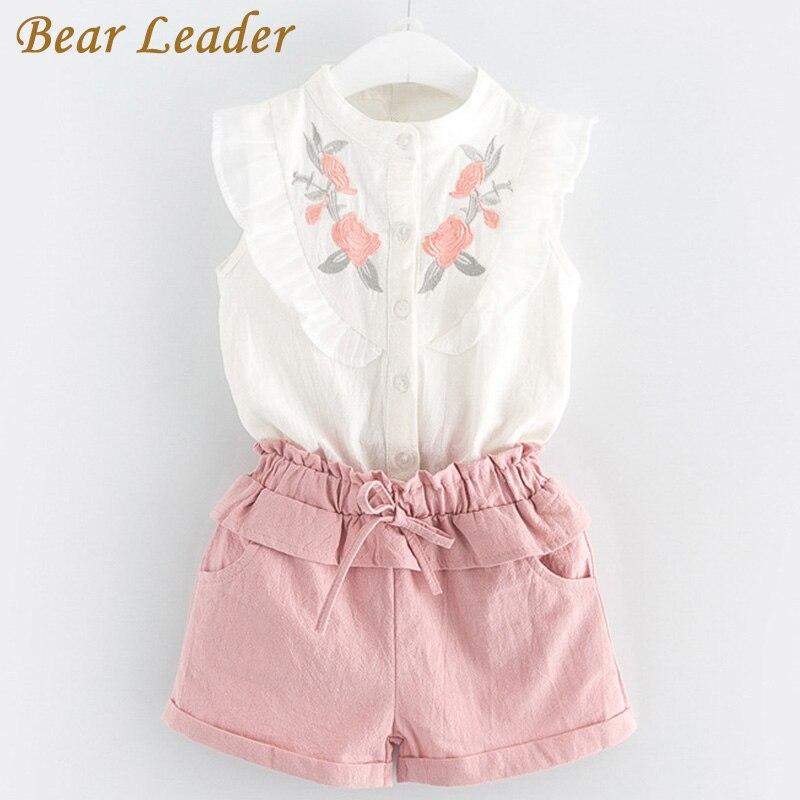 Bärenführer Mädchen Kleidung Sets 2018 Neue Sommer Mädchen Kleidung Sleeveless t-shirt + Shorts 2 Stücke Kinder Kleidung Sets Für 3-7 Jahre