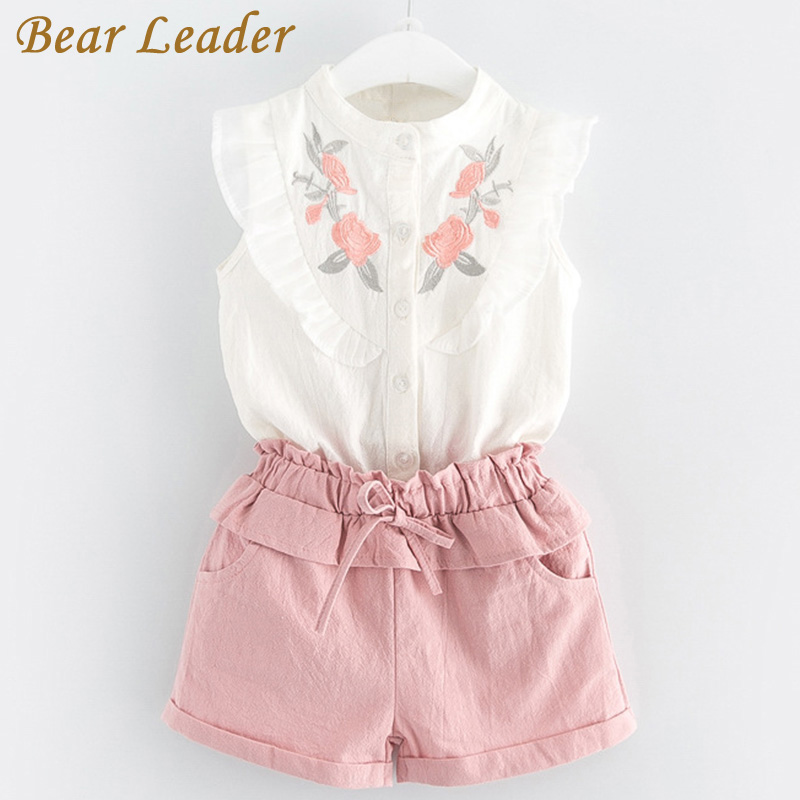 Bear Leader Girls Clothing Sets 2018 New Summer Girls Clothes Sleeveless T-shirt+Shorts 2Pcs Kids Clothing Sets For 3-7 Years baby clothes for boys girls t shirt shorts suits clothing sets summer for the school kids children s clothing for boys 3 4 years