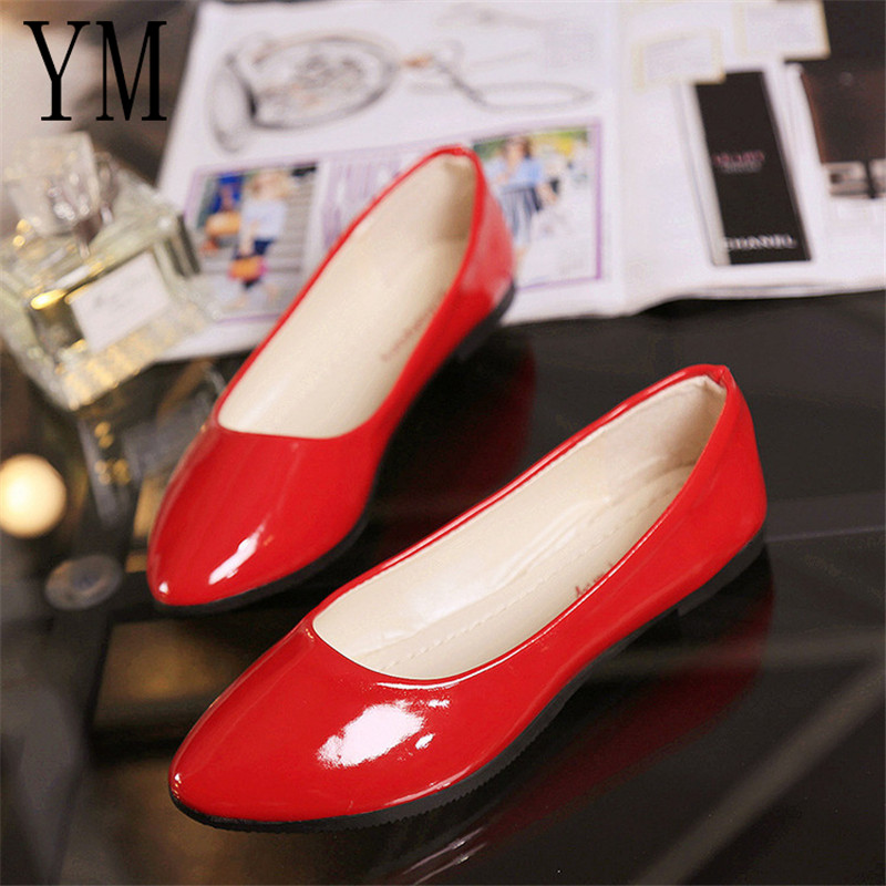 Spring Autumn 2018 PU Patent Leather Shoes Woman Single Shoes Shallow Round Tow Ballet Flats shoes Contracted 8colour big 35-42
