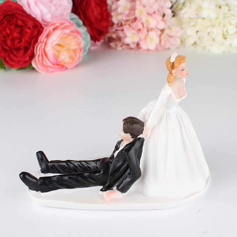 4d7bb8f2ab Funny Mariage Synthetic Resin Figurine Favor Humor Marriage Wedding Cake  Toppers Bride Groom Cake Accessory Party Decor Supplies