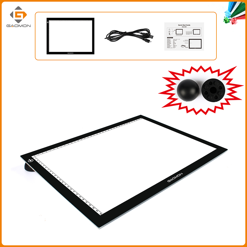 GAOMON LED Light Pad GB4 Ultra-thin Micro USB Light box Tracing Board for Sketching and Copying with Black Pad Puck