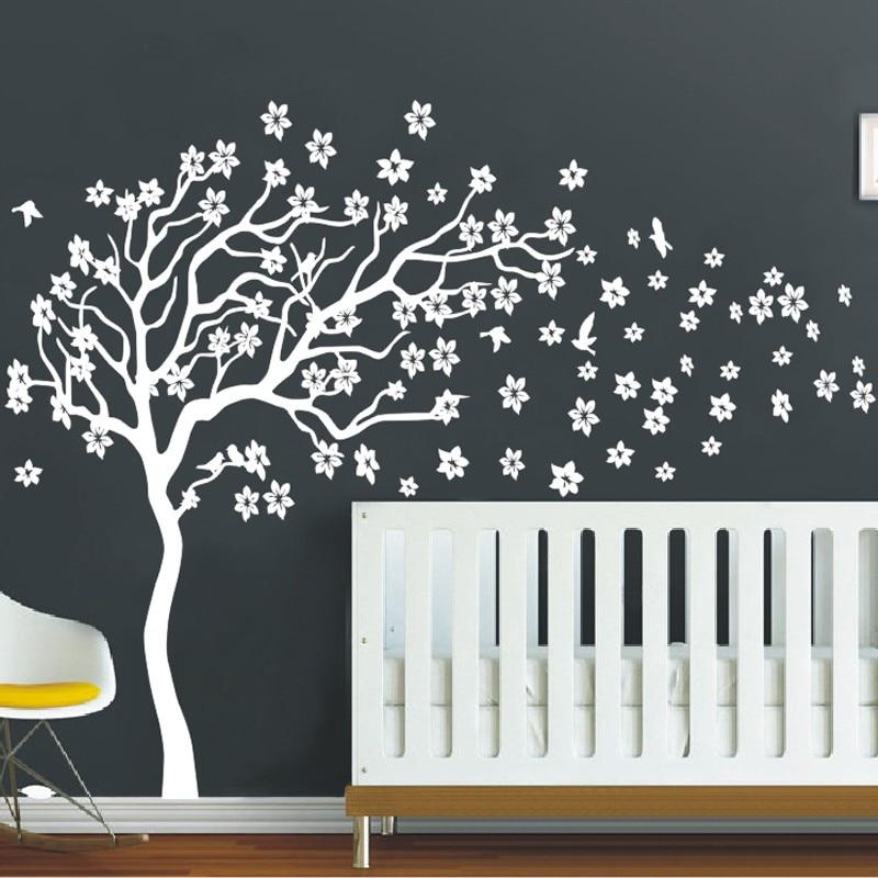 huge white tree flowers 3d vinyl wall decal nursery tree and birds