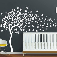 Huge White Tree Flowers 3D Vinyl Wall Decal Nursery Tree and Birds Wall Art Baby Kids Room Wall Decor Wall Stickers Home Decor