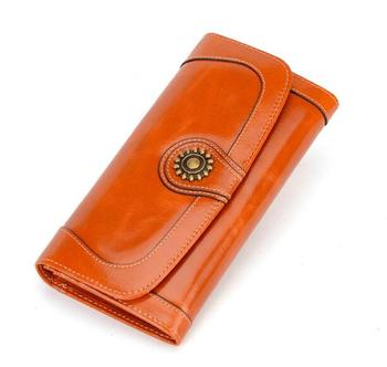 Genuine Leather Wax Women Long Purse Soft Wallet Card Holder
