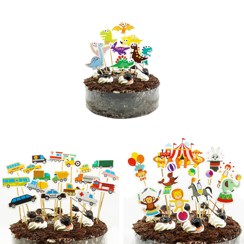 1set Cute Cake Topper Jungle Birthday Party Decorations Boy Girl 1st 2st 3st Supplies Ocean Zoo Animal Toppers