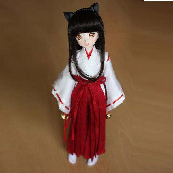[wamami] 3pc Wihte&Red Inuyasha Kimono Miko Anime Suit 1/6 SD DOLL BJD Dollfie кукла bjd volks 16 6 dollfie dream miku dd