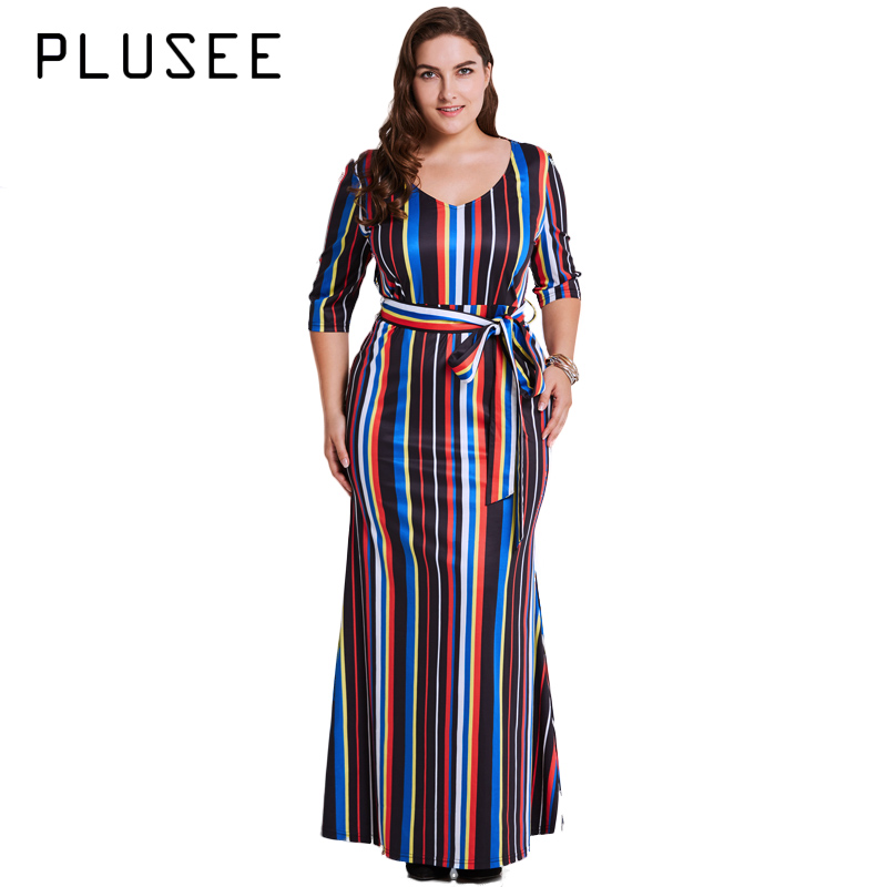 US $29.81 26% OFF|Plusee Women pring 3/4 Sleeve Striped Maxi Dress Plus  Size Casual Long Party Dress vestido de festa XL 4XL 5XL-in Dresses from ...