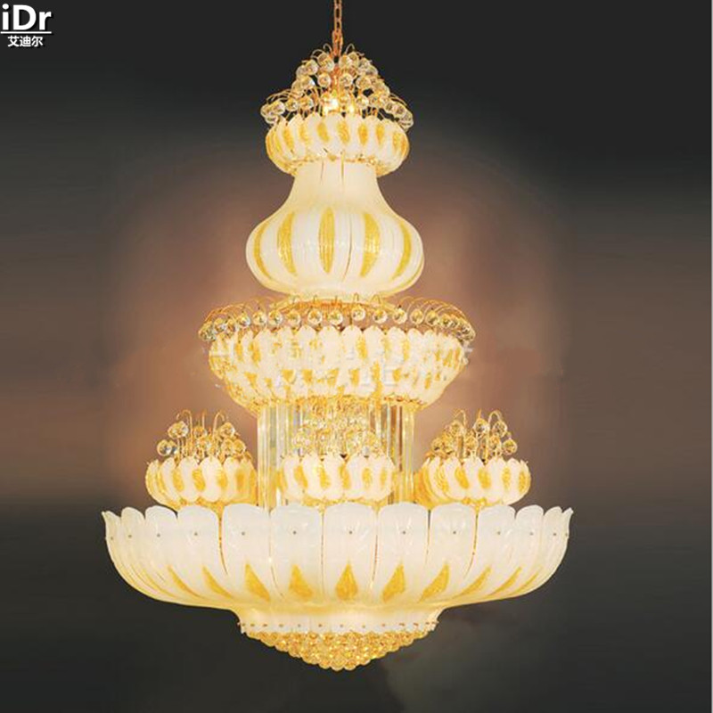 Luxury hotel lobby chandelier lamp lights bedroom light yellow traditional hotel gold Chandeliers Lmy 0211