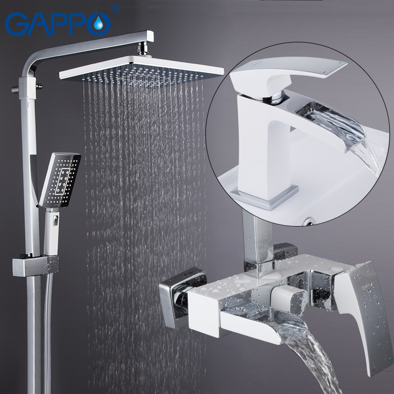GAPPO shower system basin faucet chrome and white wall mounted shower sets deck mounted basin sink