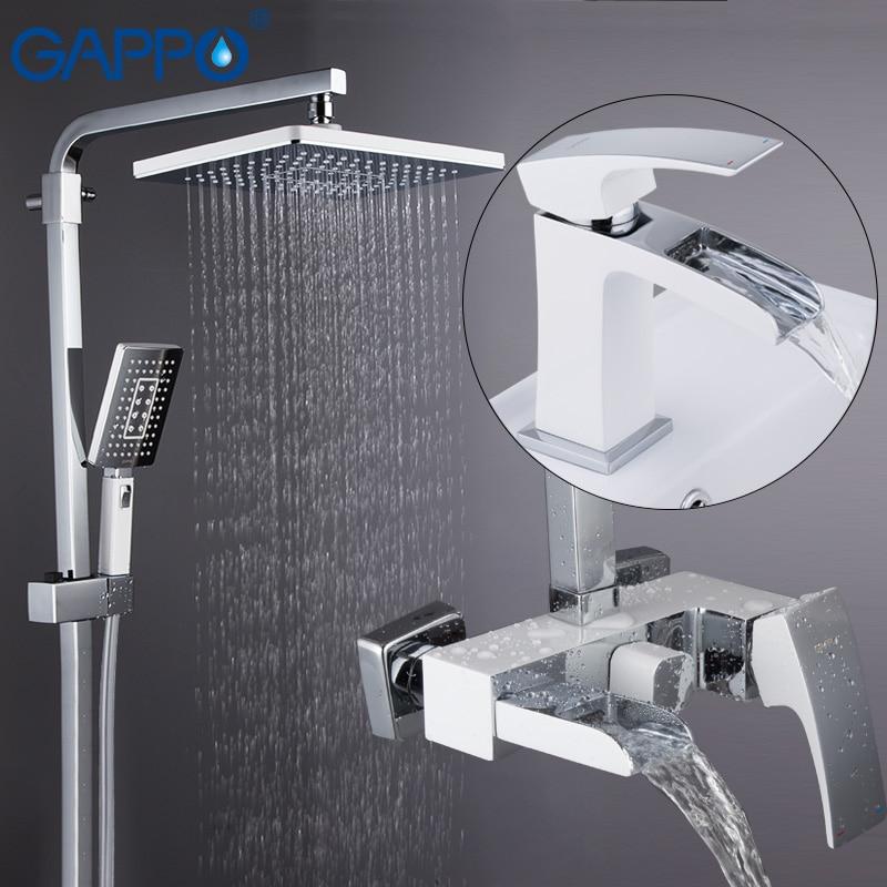 GAPPO sistema de chuveiro montado na parede torneira da bacia cromo e branco conjuntos de conjuntos de chuveiro deck montado bacia torneira da pia de bronze