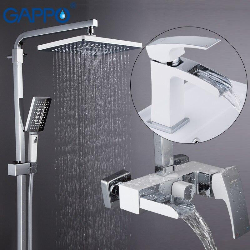 GAPPO système de douche robinet de lavabo chrome et blanc ensembles de douche murale pont monté lavabo robinet en laiton ensembles