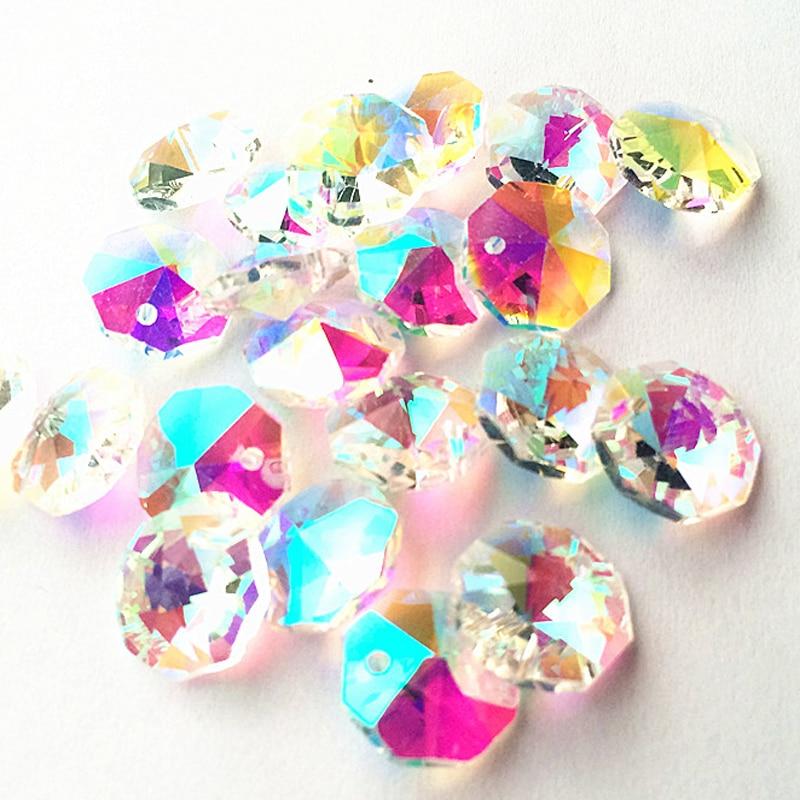 200pcs Crystal 14mm Octagonal Baeds 1 Hole For Chandelier Prism Suncatchers DIY