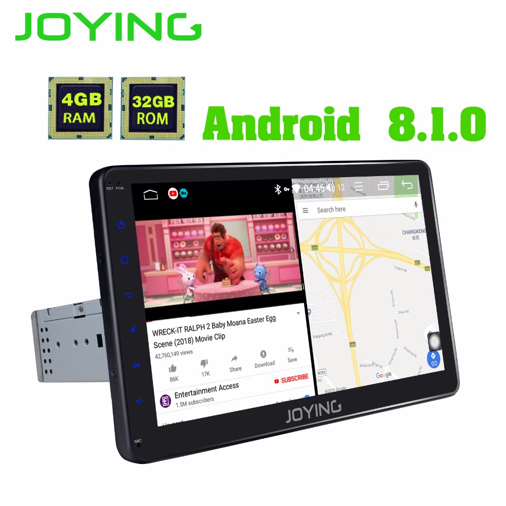 JOYING Octa Core 4GB RAM 10.1'' Android  8.1 one din Stereo GPS Navigation HD Touch Screen Universal audio Car Radio with DSP BT