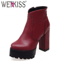 4 Colors Big Size 34 43 Female Concise Thick High Heels Ankle Boots Platform Shoes Woman