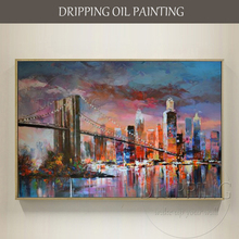 Купить с кэшбэком Hot Selling High Quality Hand-painted Abstract New York City Oil Painting on Canvas Abstract Cityscape Oil Painting for Decor