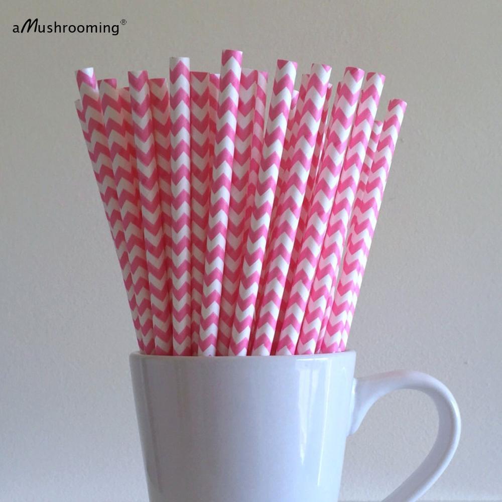 Aliexpresscom Buy 25 Hot Pink Chevron Paper Straws Hot Pink Zig