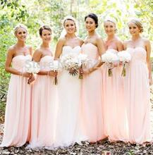 Hot A-line Sweetheart Pink Chiffon Elegant Floor Length Long Bridesmaid Dresses Wedding Party Dresses 2017