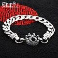 Beier 925 prata esterlina pulseira cadeia mão do punk do vintage cruz chain link crown pulseira de homens acessórios jóias sctyl0156