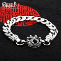 Vintage hand chain Beier 925 sterling silver bracelet punk cross link chain crown bracelet men accessories Jewelry SCTYL0156