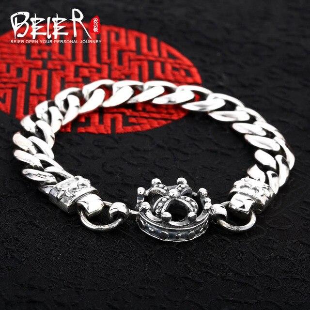 599009963d324 Vintage hand chain Beier 925 sterling silver bracelet punk cross link chain  crown bracelet men accessories