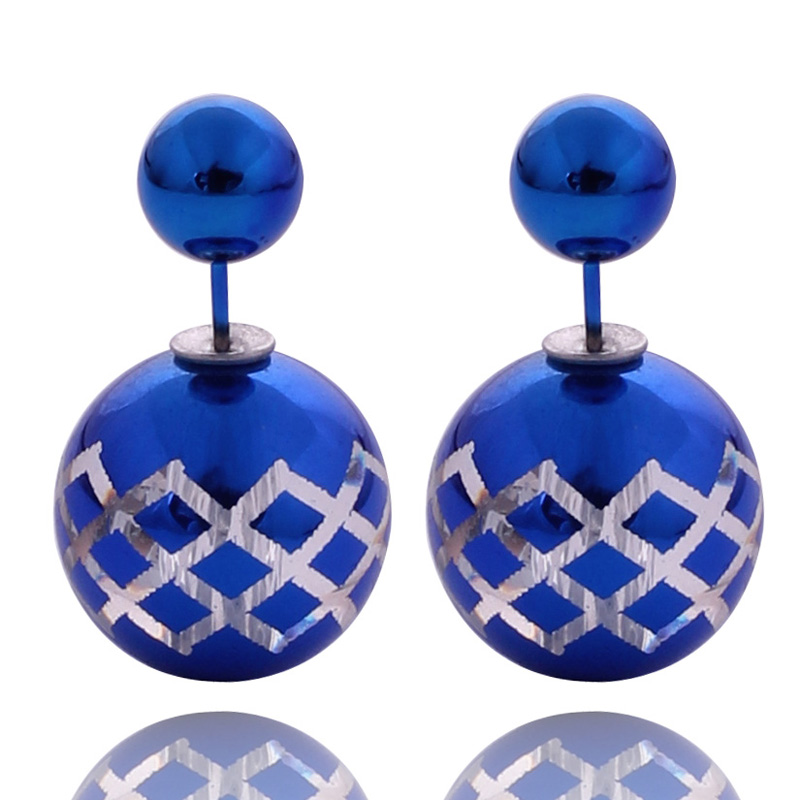 11 Colors European Style Boutique Lattice Pattern Candy Color Double Side Personality Temperament Wild Pearl Earrings