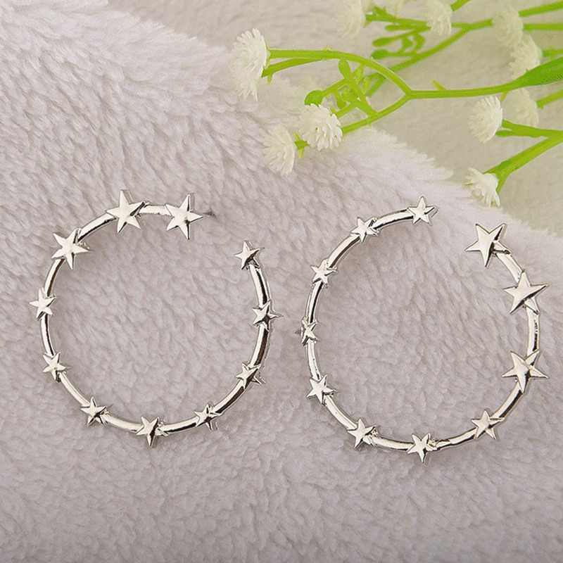 Fashion Jewelry Hot Sale Earings Brincos Punk Big Circle Pentagram Star Stud Earrings For Women Wedding Party Earrings