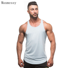 Maxmessy Solid Cotton Running Vests Bodybuilding Gym Fitness Muscle Men Tank Tops Sport Crop Top Men Basketball T Shirts MC096